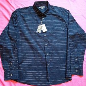 NWT Ike Behar Men stretch button front dress shirt